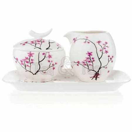 Komplet Kwiat Wiśni mlecznik i cukiernica Tea Logic