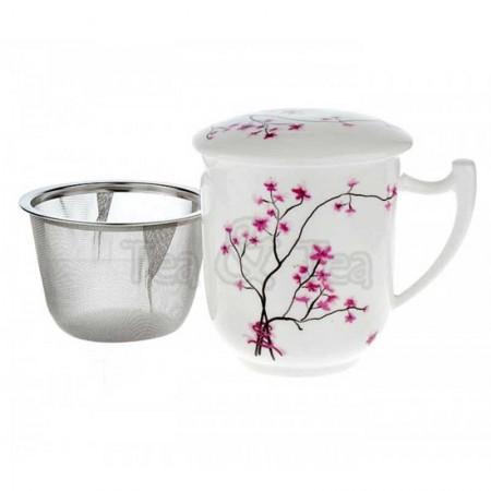 Kubek Kwiat Wiśni z zaparzaczem i pokrywką 300ml Tea Logic