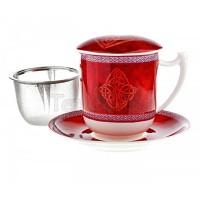 Kubek Celtic z zaparzaczem i pokrywką czerwony 350ml Tea Logic