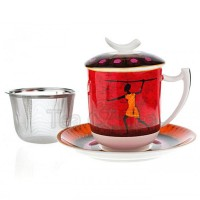 Kubek Kariba z zaparzaczem i pokrykwą czerwony 350ml Tea Logic