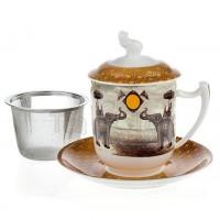 Kubek Sepia Słoń z zaparzaczem i pokrywką 350ml Tea Logic