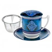Kubek Celtic z zaparzaczem i pokrywką niebieski 350ml Tea Logic
