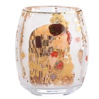 Szklany świecznik Pocałunek 13.5cm Gustaw Klimt Goebel