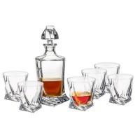 Komplet 6 szklanek do whisky z karafką Quadro seria Bohemia Quadro