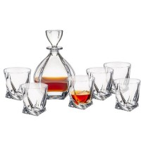 Komplet 6 szklanek do whisky z karafką Laguna seria Bohemia Laguna
