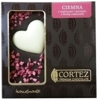 Czekolada ciemna z malinami z sercem z białej czekolady 100g Cortez