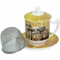 Kubek Sowa z zaparzaczem i pokrywką 350ml Tea Logic