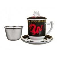 Kubek Zhu czarny z zaparzaczem i pokrywką 350ml Tea Logic
