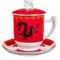 Kubek Zhu czerwony z zaparzaczem i pokrywką 350ml Tea Logic
