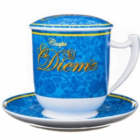 Kubek Carpe Diem niebieski z zaparzaczem i pokrywką 350ml Tea Logic