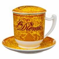 Kubek Carpe Diem żółty z zaparzaczem i pokrywką 350ml Tea Logic