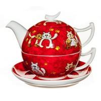 Tea for one kot Carlos zestaw filiżanka 250ml z dzbankiem Tea Logic