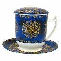 Kubek Raffaella z zaparzaczem i pokrywką niebieski 350ml Tea Logic