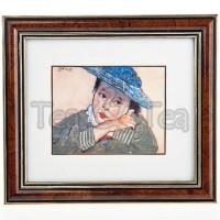 Obraz Dziewczynka w niebieskim kapeluszu 15x17cm Wyspiański