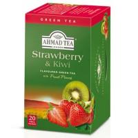 Herbata w saszetkach alu Strawberry & Kiwi Green Tea 20szt AhmadTea