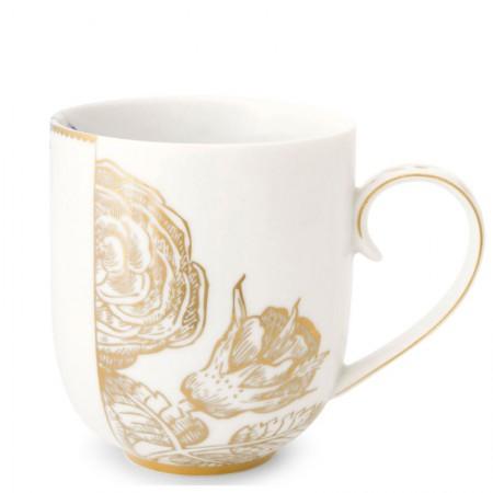 Kubek duży Royal White Golden Flower 325ml Pip Studio