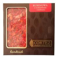Czekolada rubinowa z truskawkami i malinami 85g Cortez