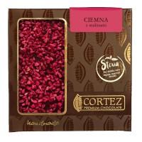Czekolada ciemna malina słodzona stewią 85g Cortez