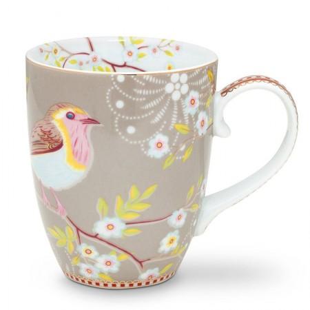 Kubek duży Early Bird Khaki Floral 350ml Pip Studio
