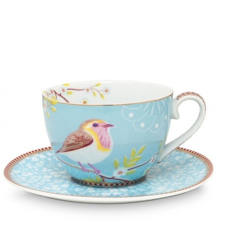Filiżanka cappucino Early Bird Blue Floral 280ml Pip studio