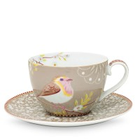 Filiżanka cappucino Early Bird Khaki Floral 280ml Pip studio