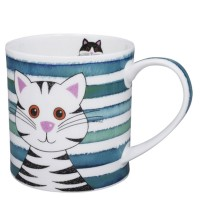 Kubek Orkney Stripy Cats Turquoise 350ml Dunoon