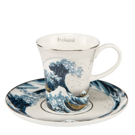 Filiżanki espresso Great Wave Silver 100ml 2 szt Hokusai Katsushika Goebel