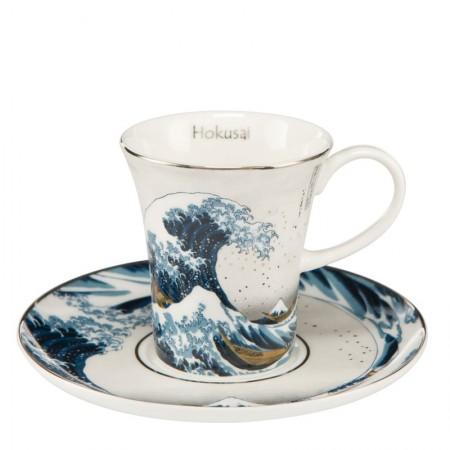 Filiżanki espresso Great Wave Silver 100ml 2 szt Hokusai Katsushika Goebel