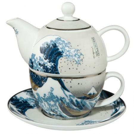 Tea for one Great Wave Silver 350ml Hokusai Katsushika Goebel