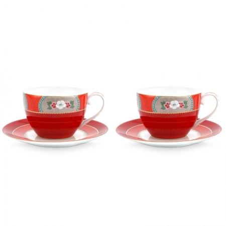 Zestaw 2 filiżanek cappuccino ze spodkiem Blushing Birds Red Pip Studio