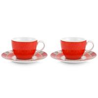Zestaw 2 filiżanek espresso ze spodkiem Blushing Birds Red Pip Studio