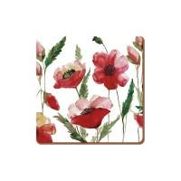 Podkładki Watercolour poppy 10.5x10.5 cm Creative Tops
