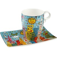Kubek z talerzykiem City Day 350 ml James Rizzi Goebel