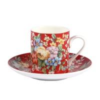 Filiżanka espresso Czerwona Kwiaty  90ml English Collection