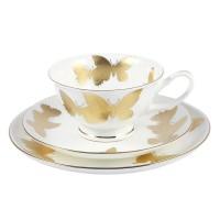 Filiżanka biała w złote motyle 200ml z talerzykiem deserowym  English Collection