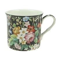 Kubek Czarny Kwiatki 300ml English Collection