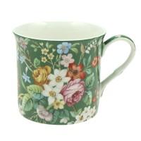 Kubek Zielony Kwiatki 300ml English Collection