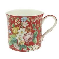 Kubek Czerwony Kwiatki 300ml English Collection