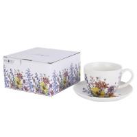 Filiżanka śniadaniowa ze spodkiem Kwiaty 400ml English Collection