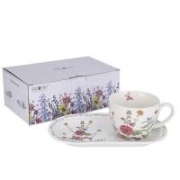 Filiżanka śniadaniowa z dużym spodkiem Kwiaty 430ml English Collection
