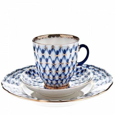 Filiżanka kawowa Siatka Kobaltowa 140 ml z talerzem deserowym Łomonosov
