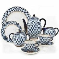 Serwis kawowy Siatka Kobaltowa II dla 6 osób Łomonosov