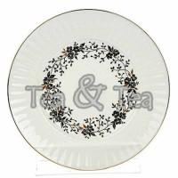 Talerz deserowy Czarne Kwiatki 15,5 cm Łomonosov
